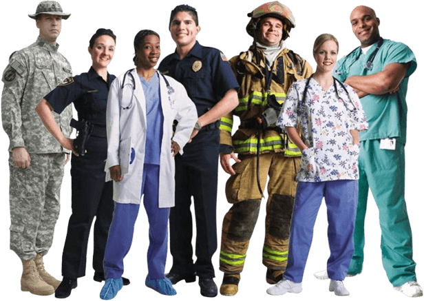 Various First Responders in uniform - Medication Assisted Treatment Concept Image
